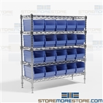 High Density Wire Shelving Bins Racks WR5-1236-202 Bin Shelving
