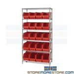 "Storage Bin Wire Shelving 36"" Wide 18"" Deep WR6-265 Quantum Low Prices In Stock"