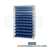 Wire Rack Shelving With Assorted Bins Parts Storage Backroom Chrome Shelving