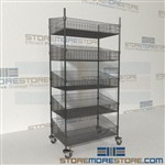 Quantum WRC74-BSK2436C-5 Rolling Wire Basket Racks hospital carts on wheels