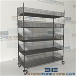 Quantum WRC74-BSK2460C-5 Rolling Wire Utility Basket Shelving Cart wire utility carts on wheels