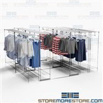 Retail Backroom Space Saving Storage Racks Hanging Clothing Shelving Garment