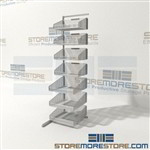 Wire basket Cantilever Rack with rack wire medical supply storage room PAR Inventory System also known as a partition wall system by quantum pn# WS70-SS18AD-4S3L wire baskets can move at here angles allowing all baskets to be access