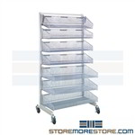 Mobile Cantilever Basket Rack Rolling Casters with seven adjustable wire bin Shelves Quantum PN WS70-SS36-4S3L is highly adjustable and flexible for all of your small part inventory needs wire construction minimizes dirt accumulation and allows air flow