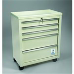 5 Drawer Small Key Locking Cart in Beige Only