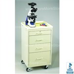 "4 Drawer Cart with Plastic Top, Solid Beige (18.5"" Wide x 18"" Deep x 34.5"" High), #SMS-50-MVP-424-B"
