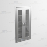 "Recessed Wall Cabinet Stainless with Hinged Glass Doors (2' 6""W x 1' 6""D x 5' 0""H), #SMS-58-DH301863R"