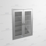 "Stainless Supply Cabinet with Glass Doors (Recessed), 4' 0""W x 1' 6""D x 5' 0""H, #SMS-58-DH481863R"
