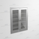 "Glass Door Stainless Steel Cabinet (Wall Recessed), 4' 0""W x 2' 0""D x 5' 0""H, #SMS-58-DH482463R"