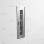 "Recessed Stainless Steel Wall Cabinet (1' 3""W x 1' 6""D x 5' 0""H), #SMS-58-SH151863R"