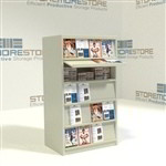 Library hinged magazine display shelves storing journals newspapers periodicals