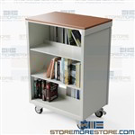 Double-Sided Book Carts Rolling Library Shelves 36wx24d Cart Aurora CART362440LT