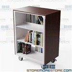 Mobile Book Carts for Libraries Adjustable Shelves 36wx24d Aurora CART362440LTLE