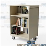 Library Book Carts Double-sided Rolling Shelf 36x24x45 Aurora CART362440STL