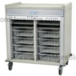 Preconfigured Double Column Short Medical Cart with gray, key locking, roll-up door, standard sand color, with 16 available colors.