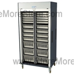 Preconfigured Double Column Medical Storage Cart with Locking Roll-up Door, standard sand color with 15 other available colors.