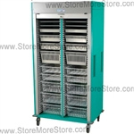 MS8140-LAP Preconfigured Double Column Medical Cart with Roll-up Locking Door, with 1/2 inch, 2 inch, 4 inch, 7 inch and 8 inch trays, durable hard-baked powder coat textured finish in 16 colors.