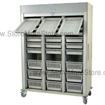 Preconfigured Triple Column Medical Cart with gray, key locking, roll-up door, standard sand color with 15 other available colors.