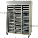 Triple Column Locking Roll-Up Door. Sand in color and a gray roll-up door.  Includes 2 inch, 4 inch, 7 inch, and 8 inch trays.