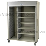 Preconfigured Triple Column Locking Roll-Up Door with 16 colors options to choose from and a gray roll-up door.