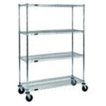 four shelf zinc wire shelving stem caster cart