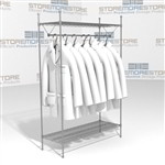 "Storing Hanging Garments Lab Coats Eagle GR1848C Wire Shelving 48"" wide Shelves"