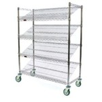 "18"" x 36"" Black, Angled Shelf/Visual Merchandising Cart, #SMS-69-M1836BL-4"