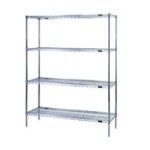 Material handling wire shelves for storage of Bins, Canned Goods, Cartons