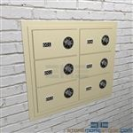 Wall mounted pistol lockers for sidearm temporary storage provides security for small weapons like handguns.