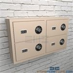 Sidearm security lockers for locking pistols and other small arm weapons securely in cabinets.