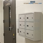 Gun wall lockers for handguns and small arms weapons storage.
