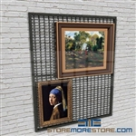 museum wire mesh hanging artwork rack or hanging art gallery storage rack also known as wire mesh gallery picture display panels