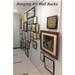 modular wall mounted wire art racks or wire mesh museum artwork display panel also known as wall mounted artwork mesh display rack