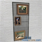 library hanging art display rack or framed painting wire mesh display rack also known as Hanging Artwork wire Mesh wall display panels
