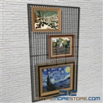 wall mounted art panel or Library artwork temporary display mesh also known as Hanging Art Panel Wall Storage Racks
