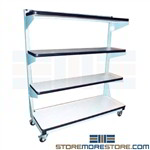 Adjustable Storage Shelf Cart Rolling Storage Racks Proline CSC4860PL-SW806-BLT