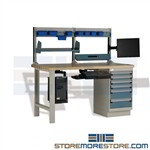 Computer workstation for Industrial Use with CP Support and a monitor arm provides a technical workstation that features a hard laminated wood work surface, bin rails with bins for storing small parts a electronic technician workstation IT repair staff