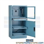 Industrial security computer cabinet that provides a dust free environment for your computers and electronic components, designed to protect your CPU, monitor, printer and sensitive technology from dust, and abrasive dirt found in industrial production