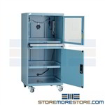 Mobile computer cabinet with a dust proof security enclosure with adjustable shelf includes fan with filtration and positive air pressure to store and secure sensitive computers and technical equipment in construction, manufacturing, production lines
