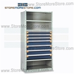 Steel Shelving with Roll-out Drawers R5SEE-7536012 | Industrial Storage Shelves 36 x 24 x75