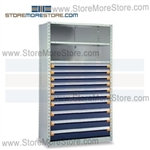 Steel Shelving with Roll-out Drawers R5SGC-7548052 | Industrial Storage Shelves 42 x 18 x 75
