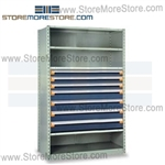 Steel Shelving with Roll-out Drawers R5SHE-7536012 | Industrial Storage Shelves 48 x 24 x 75