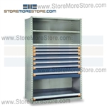 Steel Shelving with Roll-out Drawers R5SHE-7548092 | Industrial Storage Shelves 48 x 24 x 75