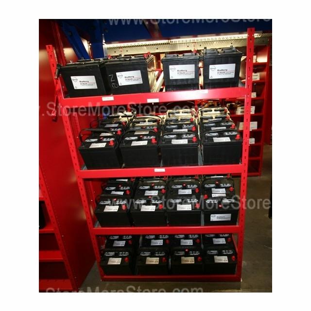 Battery Display Storage Rack With Slanted Battery Shelves | Heavy-Duty Battery Shelving SRP0463 ...
