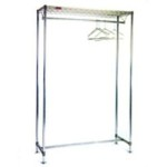 "24"" x 60"" Chrome Finish, Freestanding Gowning Rack with Hanger Tube, #SMS-84-C2460-GRT"