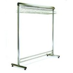 "24"" x 84"" Electropolished Finish, Freestanding Single Gowning Rack, Removable Hangers. 27 Hanger Slots, #SMS-84-EP2484-SGRR"