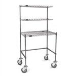 "24"" x 48"" Stainless Steel Finish, Mobile Unit - Wire Top Unit with Two Overshelves, Cleanroom Workstation, #SMS-84-MWS2448WT-S"