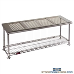 "18"" x 36"" Electropolished Finish, Gowning Bench with Standard Undershelf - Perforated Top, #SMS-84-PCRB1836EP"