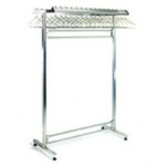 "24"" x 84"" Stainless Steel Finish, Freestanding Double Gowning Rack, Non-Removable Hangers. 56 Hanger Slots, #SMS-84-S2484-DGRN"