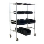 "24"" x 60"" Chrome Finish, Double Sided Bin-Holder Rail Cart, #SMS-85-DBHC2460C-4"